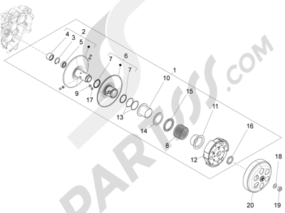 Piaggio Fly 150 4T 3V ie (USA) 2013-2015 Polea conducida