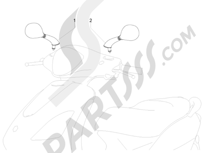 Piaggio Fly 150 4T 3V ie (USA) 2013-2015 Retrovisor es
