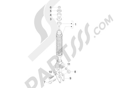 Piaggio Fly 150 4T 3V ie (USA) 2013-2015 Suspensión trasera - Amortiguador es