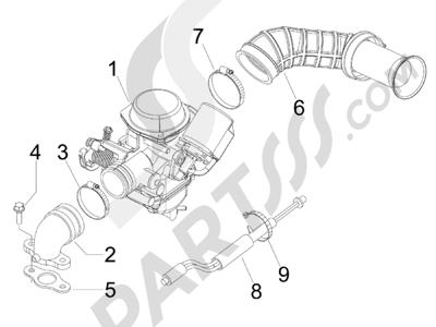 Piaggio Fly 150 4T E3 2008 - 2011 Carburador completo - Racord admisión