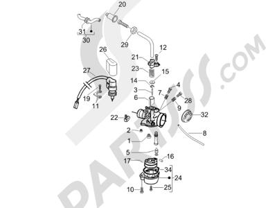 Piaggio Fly 50 2T 2006-2007 Componentes de carburador