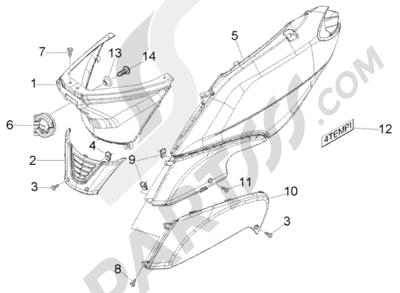 Piaggio Fly 50 4T 1998-2005 Protecciones laterales