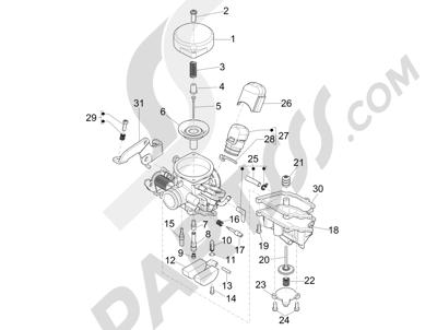 Piaggio FLY 50 4T 2V 2013 -2015 Componentes de carburador