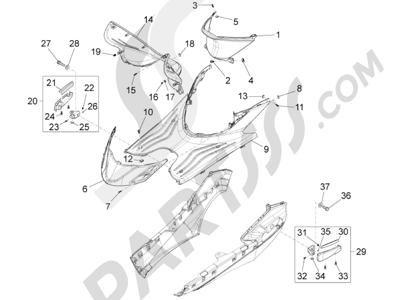 Piaggio FLY 50 4T 2V 2013 -2015 Cubierta central - Estribos