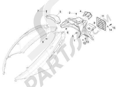 Piaggio FLY 50 4T 2V 2013 -2015 Cubierta trasera - Salpicador