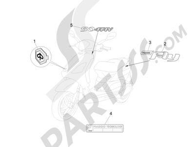 Piaggio FLY 50 4T 2V 2013 -2015 Letreros - Escudos