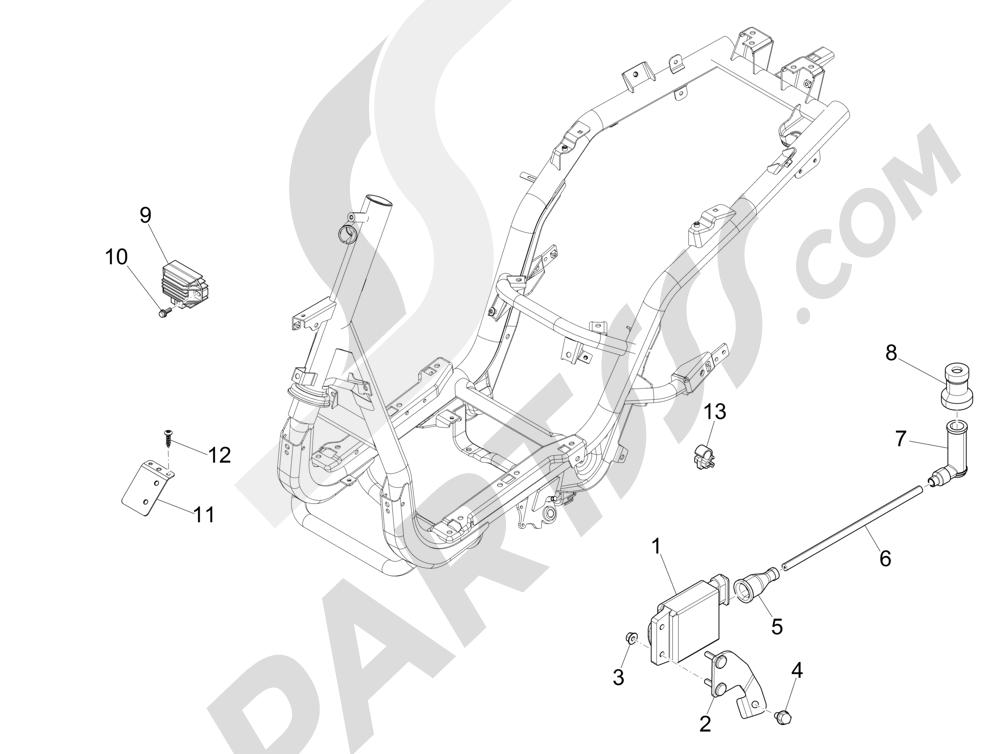 Piaggio FLY 50 4T 2V 2013 -2015 Reguladores de tensión - Centralitas electrónicas - Bobina A.T.