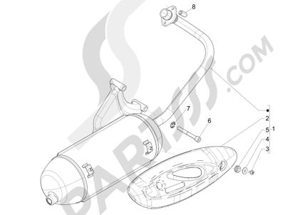 Piaggio FLY 50 4T 2V 2013 -2015 Silenciador