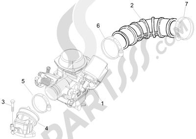 Piaggio Fly 50 4T 2V 25-30Km/h 2012-2015 Carburador completo - Racord admisión