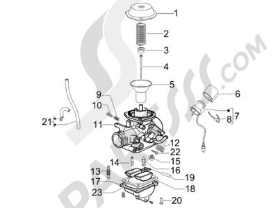 Piaggio Fly 50 4T 2V 25-30Km/h 2012-2015 Componentes de carburador