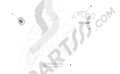 Piaggio Fly 50 4T 2V 25-30Km/h 2012-2015 Letreros - Escudos
