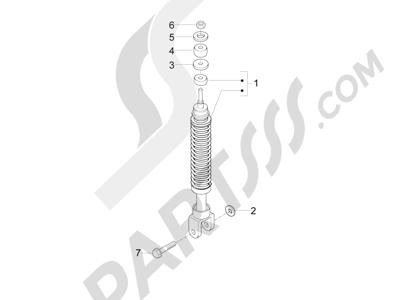 Piaggio Fly 50 4T 2V 25-30Km/h 2012-2015 Suspensión trasera - Amortiguador es