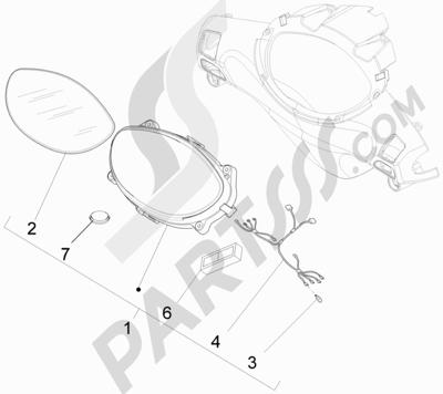 Piaggio Fly 50 4T 2V 25-30Km/h 2012-2015 Tablero de instrumentos - Cruscotto