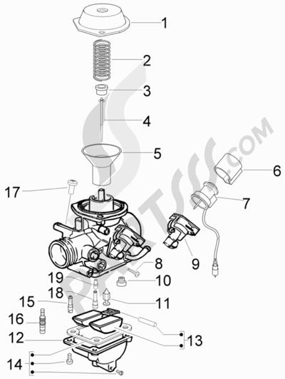 Piaggio Fly 50 4T 4V (USA) 2011 Componentes de carburador