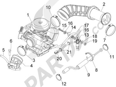 Piaggio Fly 50 4T 4V USA 2013-2015 Carburador completo - Racord admisión