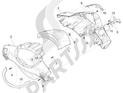 Piaggio Fly 50 4T 4V USA 2013-2015 Coberturas manillar