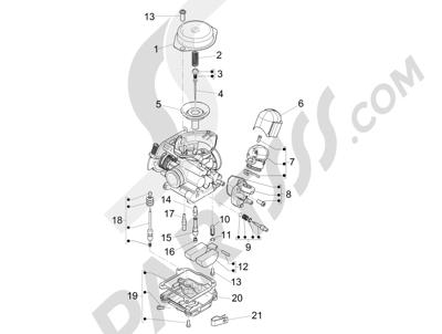 Piaggio Fly 50 4T 4V USA 2013-2015 Componentes de carburador