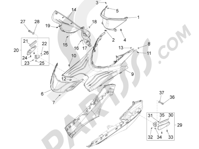 Piaggio Fly 50 4T 4V USA 2013-2015 Cubierta central - Estribos