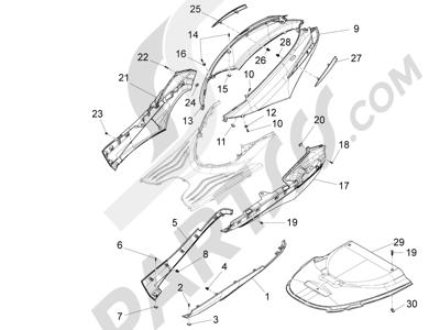 Piaggio Fly 50 4T 4V USA 2013-2015 Cubiertas laterales - Spoiler