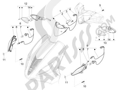 Piaggio Fly 50 4T 4V USA 2013-2015 Faros delanteros - Indicadores de dirección