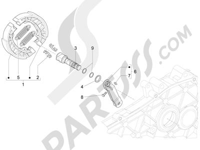 Piaggio Fly 50 4T 4V USA 2013-2015 Freno trasero - Zapatas