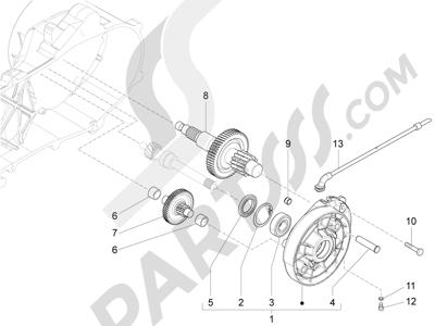 Piaggio Fly 50 4T 4V USA 2013-2015 Grupo reductor