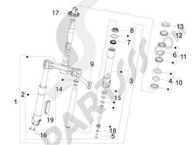Piaggio Fly 50 4T 4V USA 2013-2015 Horquilla Tubo direccion - Conjunto tejuelos