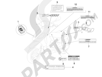 Piaggio Fly 50 4T 4V USA 2013-2015 Letreros - Escudos