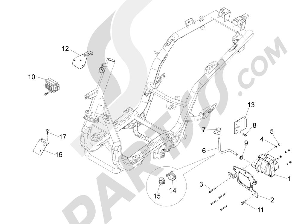 Piaggio Fly 50 4T 4V USA 2013-2015 Reguladores de tensión - Centralitas electrónicas - Bobina A.T.