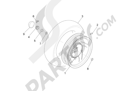 Piaggio Fly 50 4T 4V USA 2013-2015 Rueda trasera