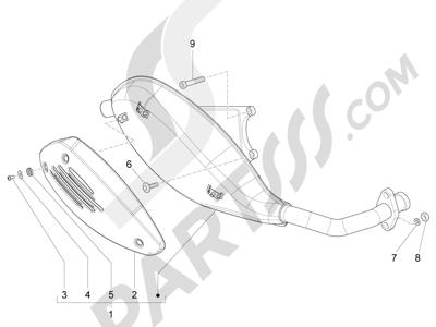 Piaggio Fly 50 4T 4V USA 2013-2015 Silenciador