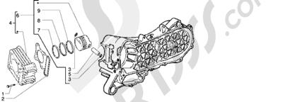 Piaggio Free 100 1998-2005 Grupo cilindro-piston-eje de piston