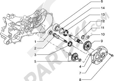 Piaggio Hexagon 125 1998-2005 Eje rueda trasera