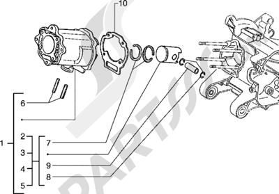 Piaggio Hexagon 125 1998-2005 Grupo cilindro-piston-eje de piston