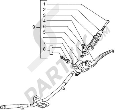Piaggio Hexagon 150 1998-2005 Piezas que componen el manillar