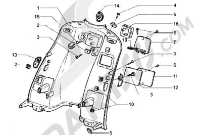 Piaggio Hexagon GT 1998-2005 Escudo trasero