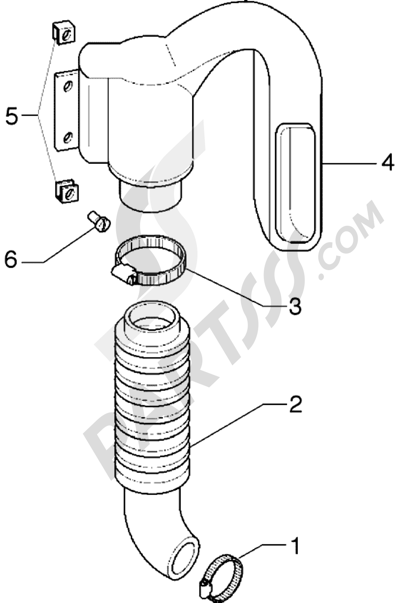 Piaggio Hexagon GTX 125 1998-2005 Conducto refrigeracion correa-tubo de admission