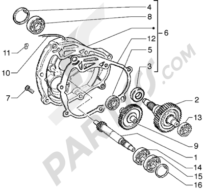 Piaggio Hexagon GTX 125 1998-2005 Eje rueda trasera