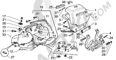 Piaggio Hexagon GTX 125 1998-2005 Maleta