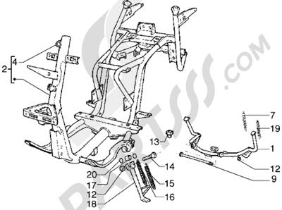 Piaggio Hexagon GTX 180 1998-2005 Caballete central-Caballete lateral