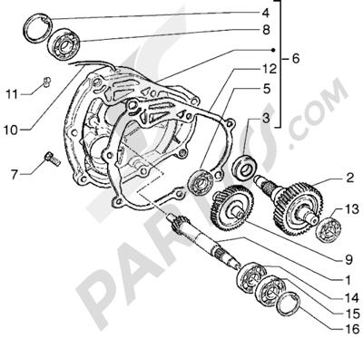Piaggio Hexagon GTX 180 1998-2005 Eje rueda trasera