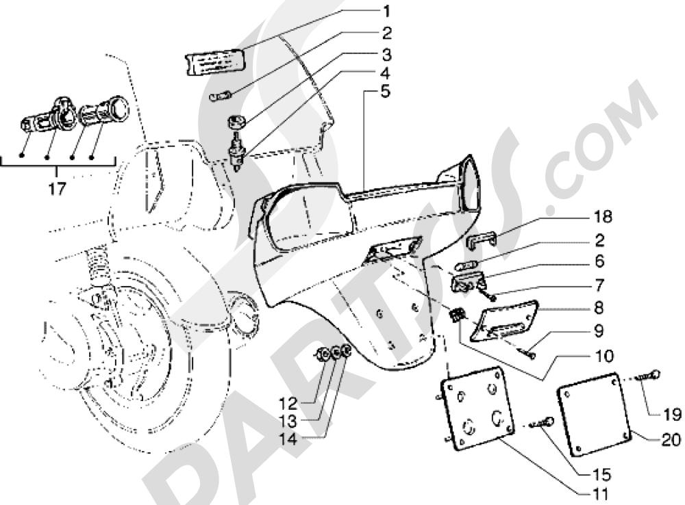 Piaggio Hexagon GTX 180 1998-2005 Porta-matricula y luz compart. portamaleta