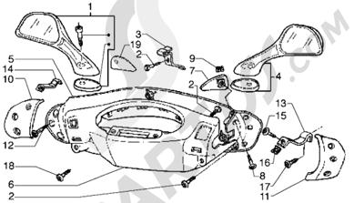 Piaggio Hexagon GTX 180 1998-2005 Tapas manillar y retrovisores