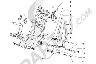 Piaggio Hexagon LX 1998-2005 Chasis-Brazo oscilante-Caballete lateral