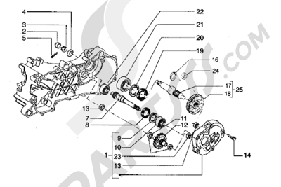 Piaggio Hexagon LX 1998-2005 Eje rueda trasera