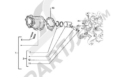 Piaggio Hexagon LX 1998-2005 Grupo cilindro-piston-eje de piston