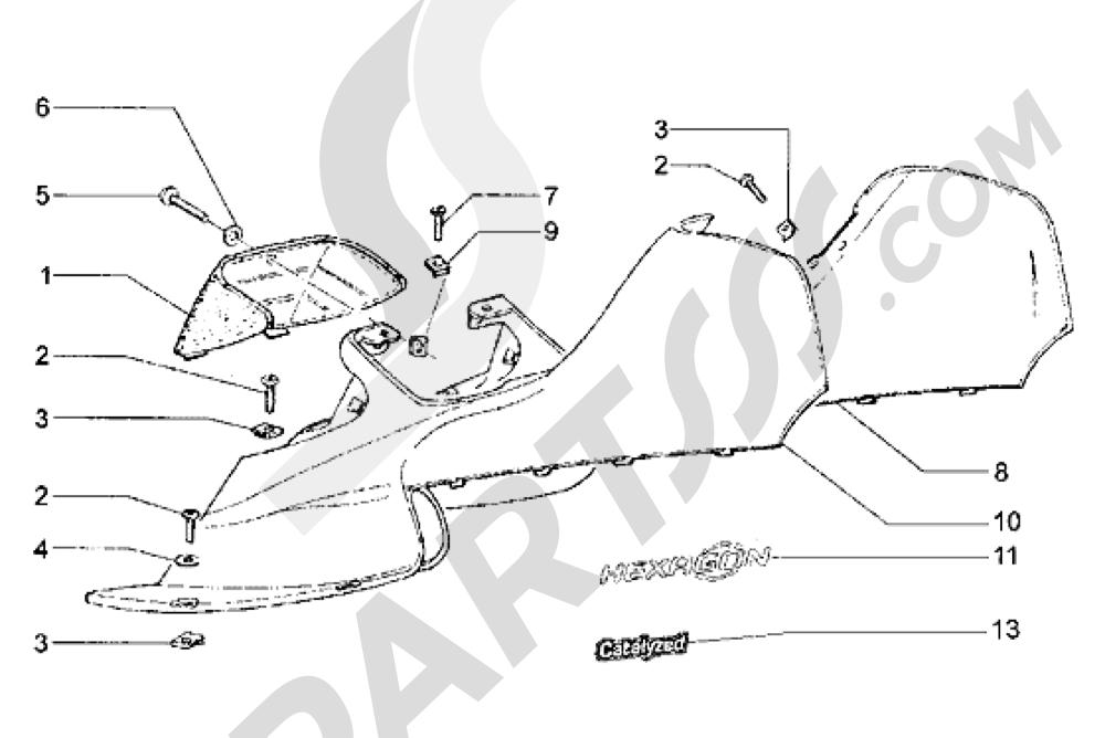 Piaggio Hexagon LX 1998-2005 Protecciones laterales sup.