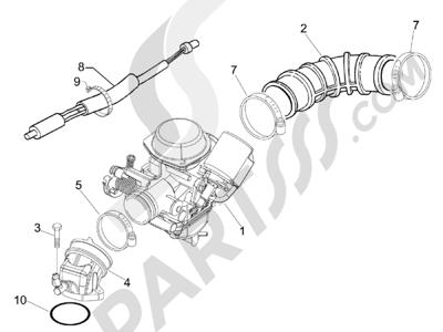 Piaggio Liberty 100 4T (Vietnam) 2011-2014 Carburador completo - Racord admisión