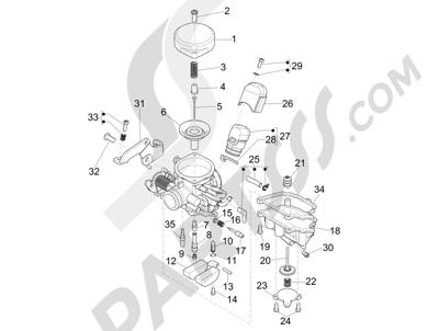 Piaggio Liberty 100 4T (Vietnam) 2011-2014 Componentes de carburador
