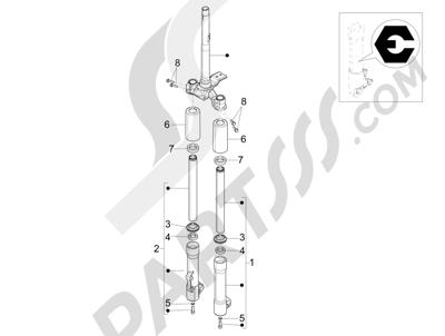Piaggio Liberty 100 4T (Vietnam) 2011-2014 Componentes de la horquilla (Escorts)